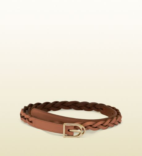 Gucci Braided Belt with Spur Buckle in Brown (gold)