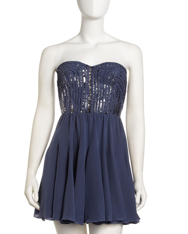 Bcbg Rebecca Strapless Sequin Cocktail Dress