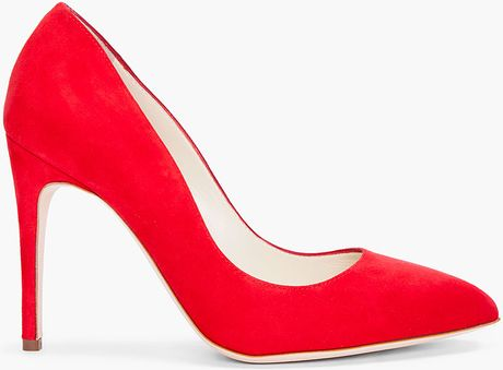 Rupert Sanderson Red Suede Laira Heels in Red