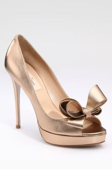 Valentino Couture Metallic Nappa Bow Pumps - Lyst