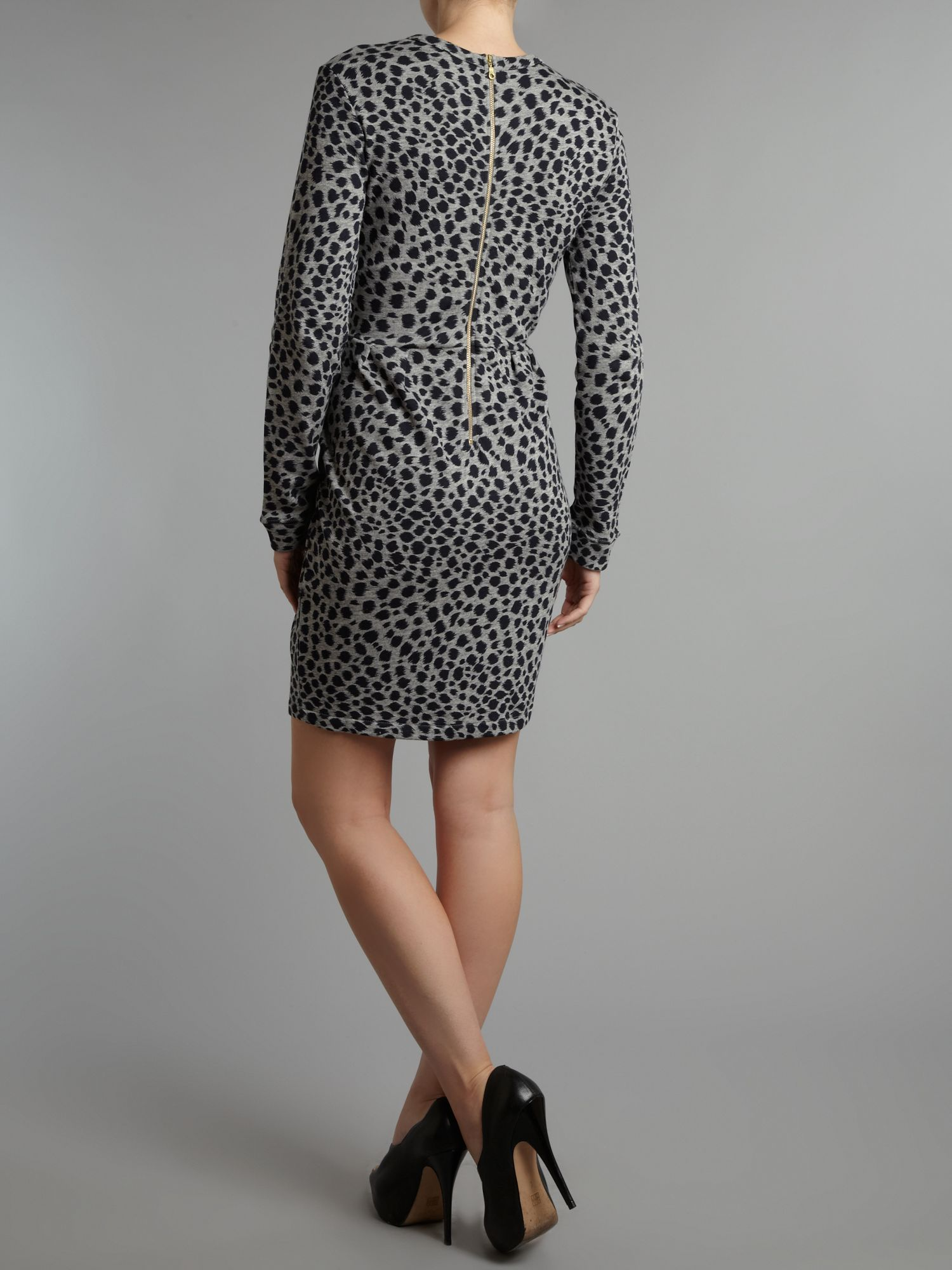 Whistles Dotty Cheetah Print Dress in Grey