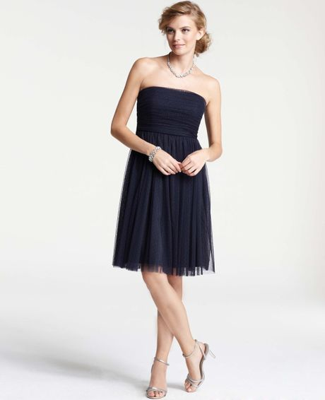 Ann taylor point desprit strapless bridesmaid dress in for Anne taylor wedding dress