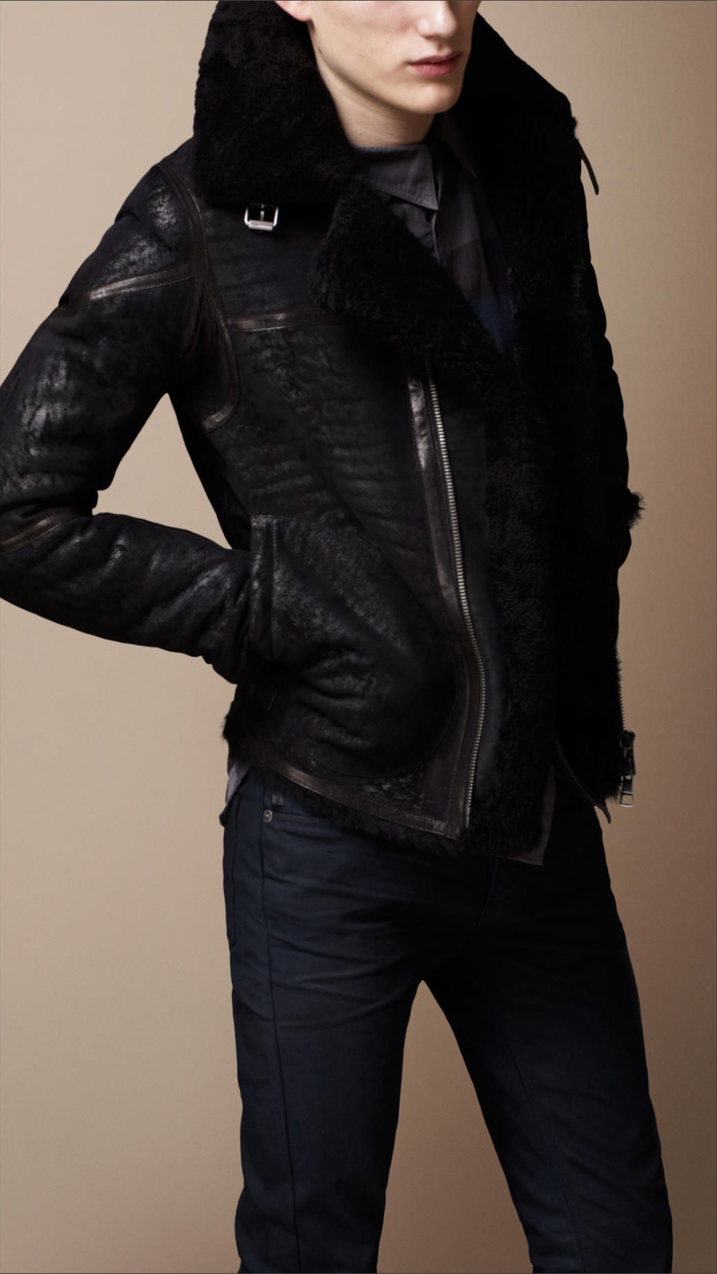 lyst burberry brit shearling biker jacket in black for men. Black Bedroom Furniture Sets. Home Design Ideas