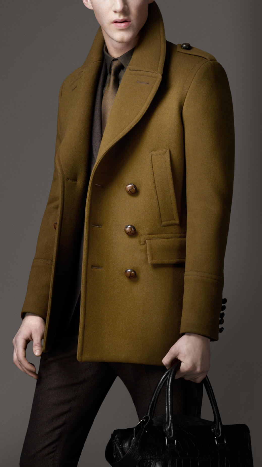 Burberry Felted Wool Pea Coat in Green for Men | Lyst