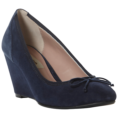 dune ant suede bow trim wedge heel court shoes navy in