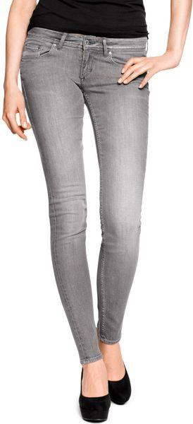 h m super skinny super low jeans in gray denim lyst. Black Bedroom Furniture Sets. Home Design Ideas