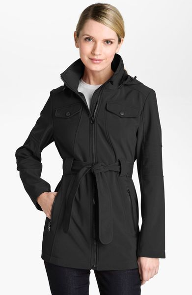 London Fog Belted Jacket with Detachable Hood in Black
