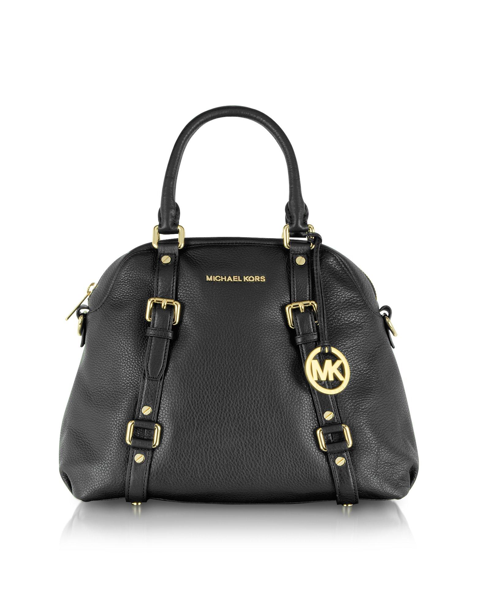 60b5fe6766df Lyst - Michael Kors Bedford Genuine Leather Bowling Satchel Bag in Black