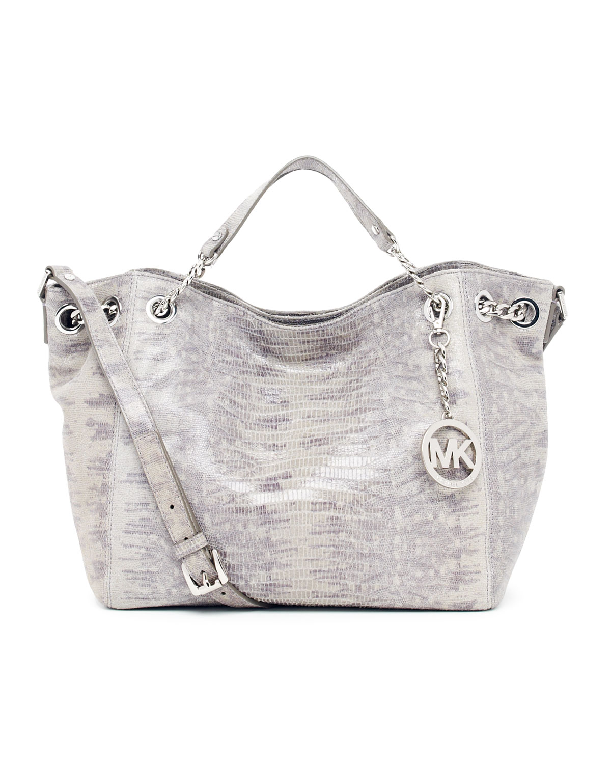 fa6fed558376 ... Lyst - Michael Kors Jet Set Chain Shoulder Tote in Gray ...