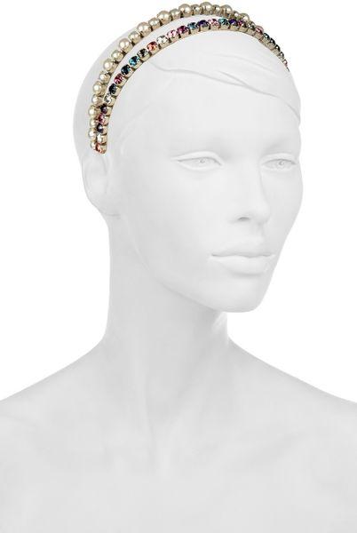 miu miu faux pearl and crystal metal headband in