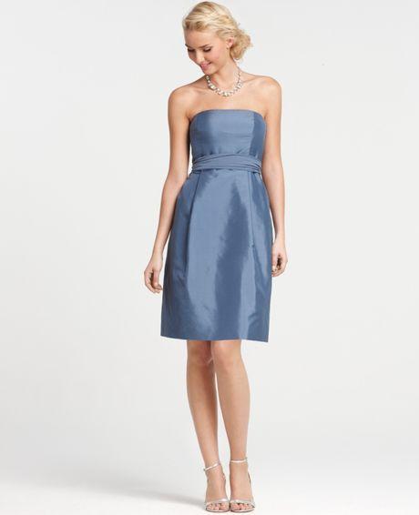 Ann taylor silk dupioni strapless bridesmaid dress in blue for Anne taylor wedding dress