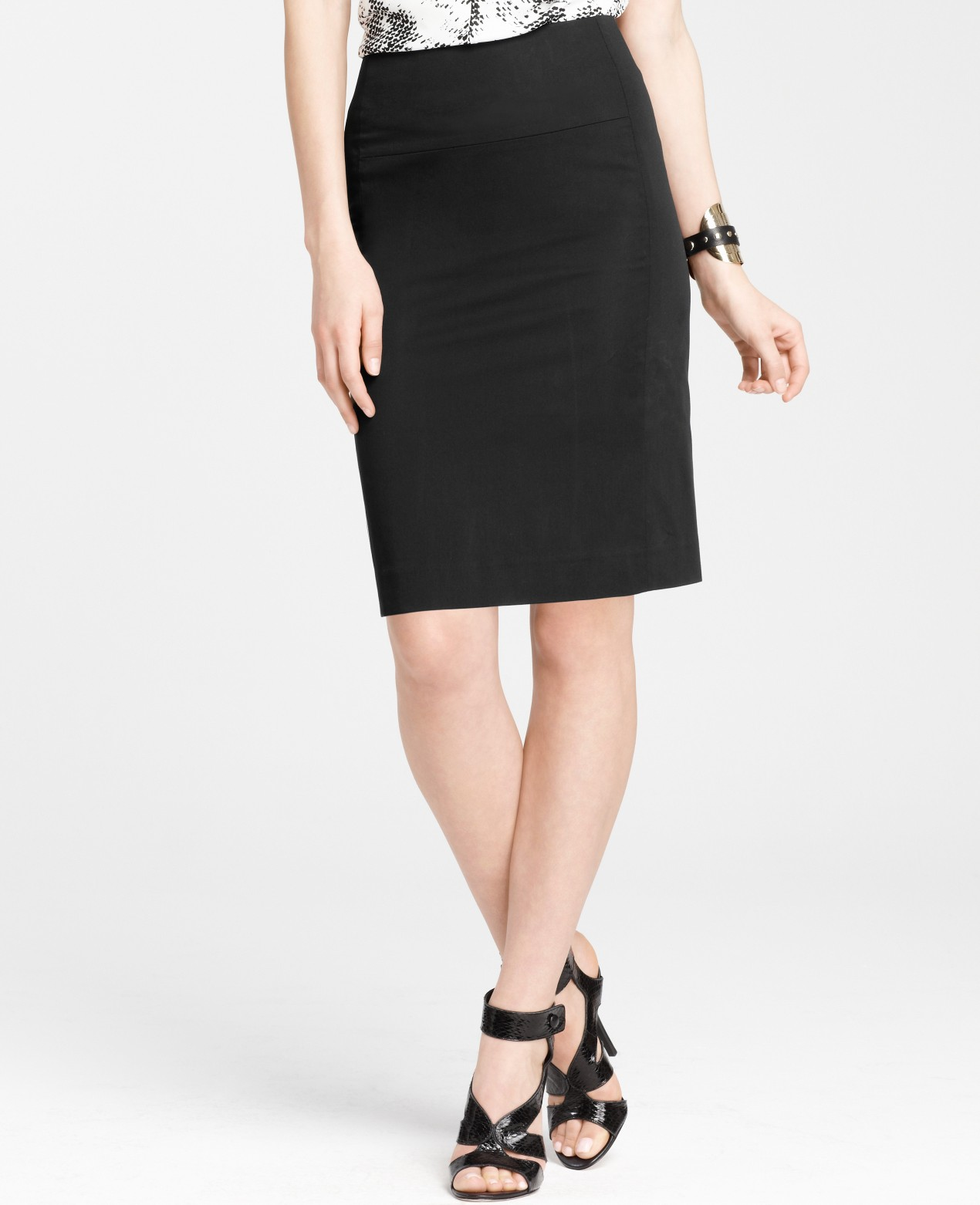 polished cotton seamed pencil skirt in