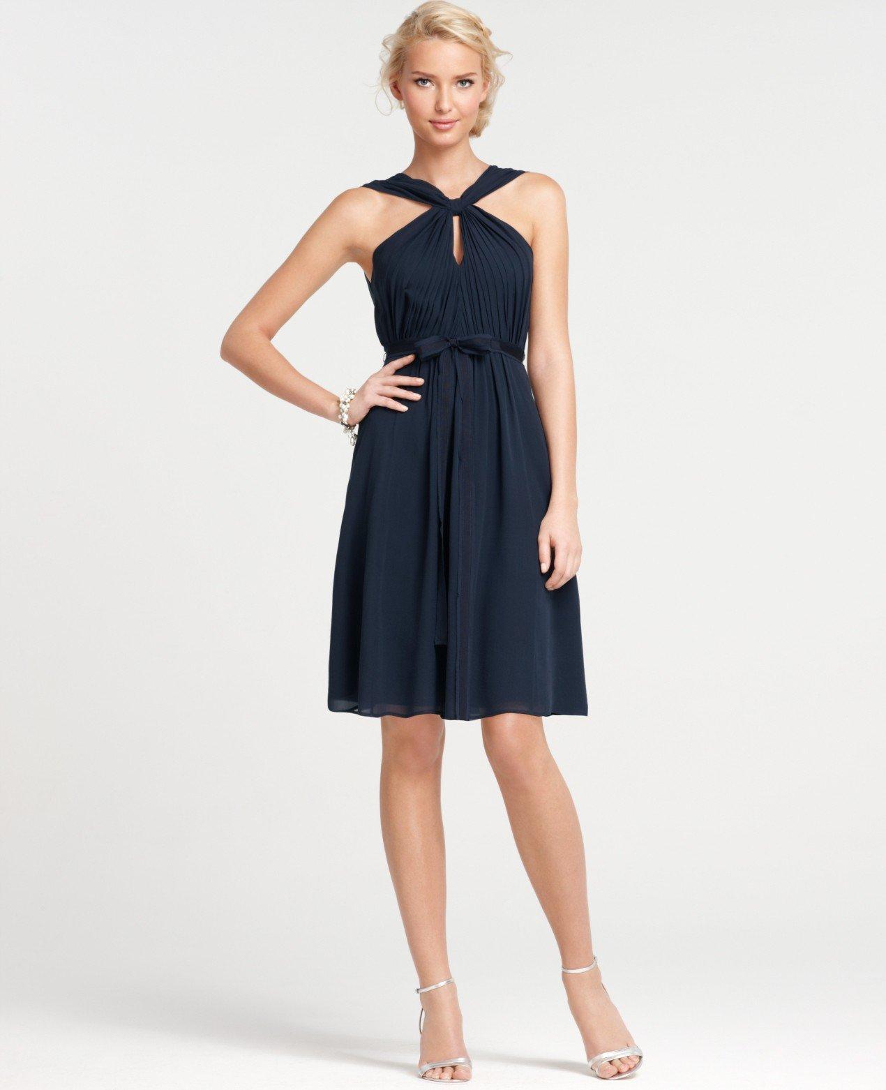 Lyst ann taylor petite silk georgette keyhole halter for Anne taylor wedding dress