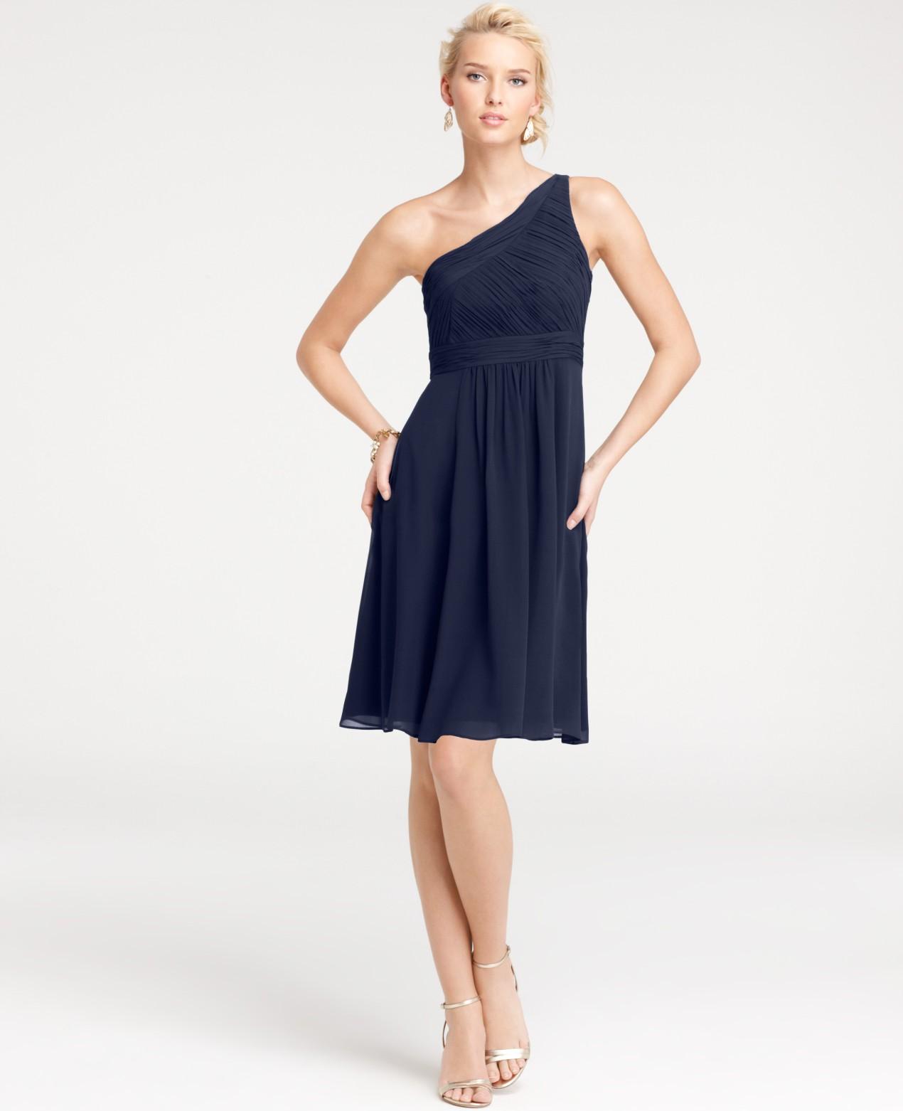 Ann Taylor Silk Georgette One Shoulder Bridesmaid Dress In