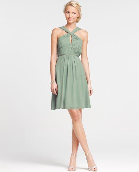 Ann taylor silk georgette keyhole halter bridesmaid dress for Anne taylor wedding dress