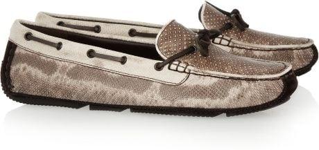 Bottega Veneta Snake Driving Shoes in Beige (snake) - Lyst