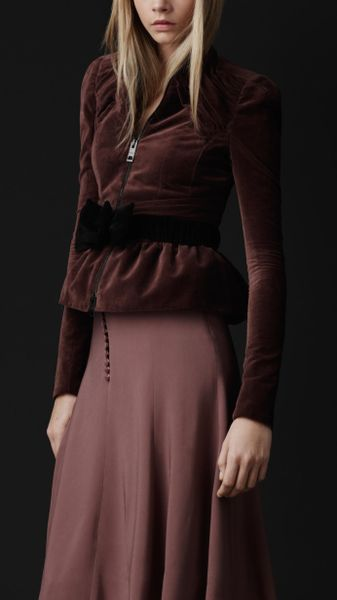 Burberry Prorsum Velvet Peplum Jacket in Purple (dark mauve pink) - Lyst