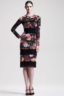 Dolce & Gabbana Laceinset Printed Dress - Lyst