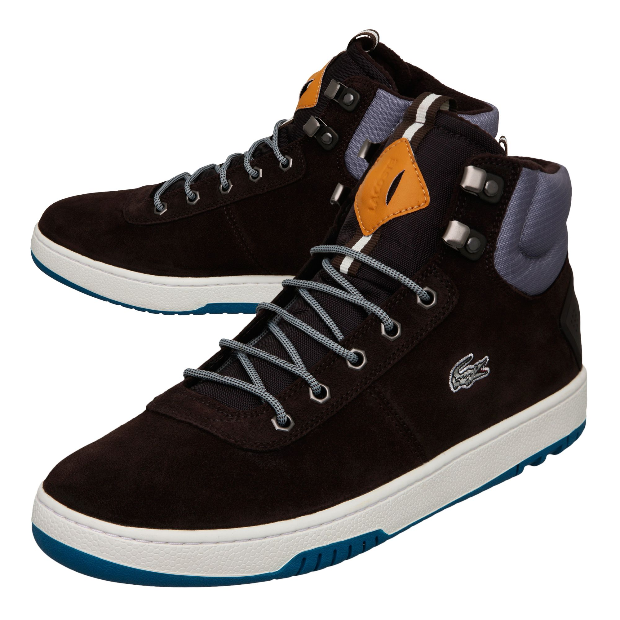 lyst lacoste raggi ci spm high top trainers in brown for men
