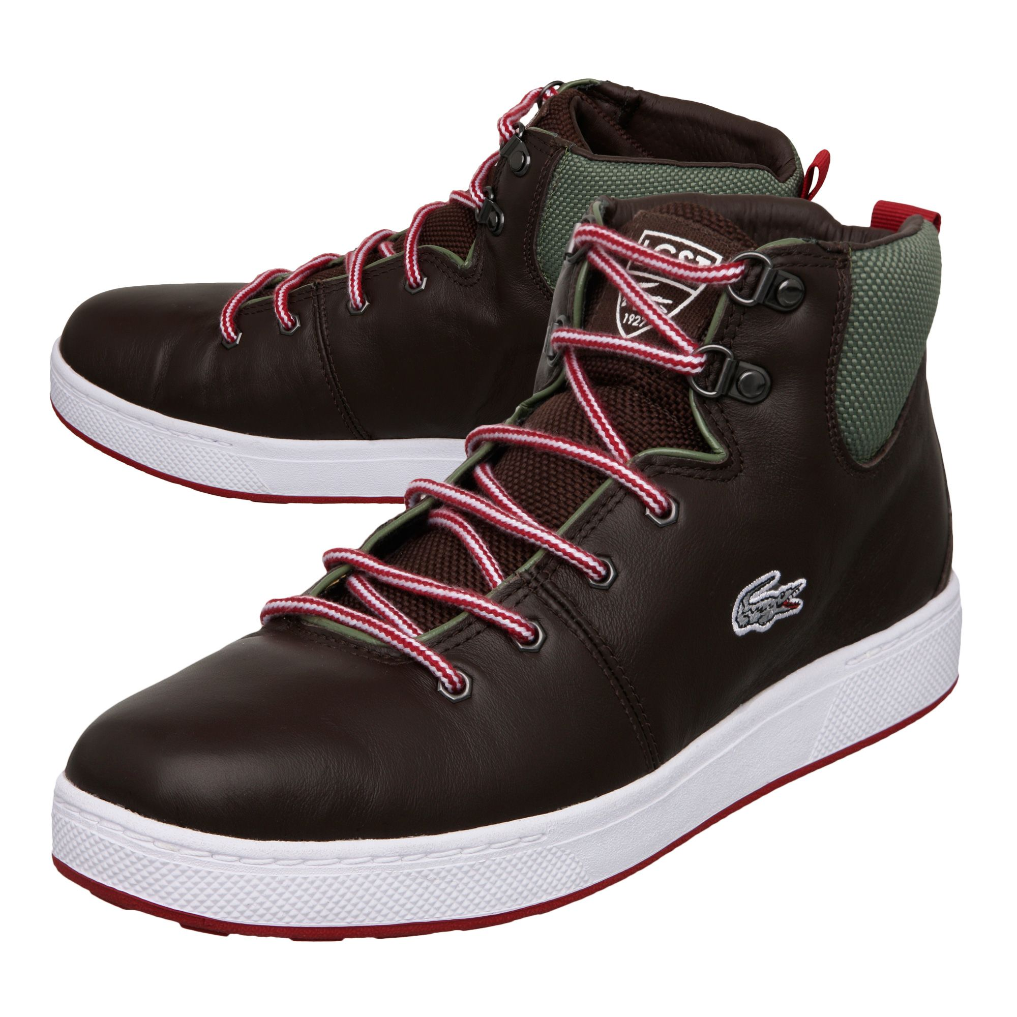 lacoste studland ci spm high top trainers in brown for men