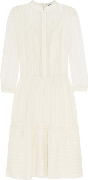 Lover Tennessee Lacetrimmed Satin Jersey Dress in White (ivory)