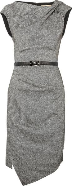 Michael Kors Draped Wool and Silkblend Tweed Dress in Gray (black)