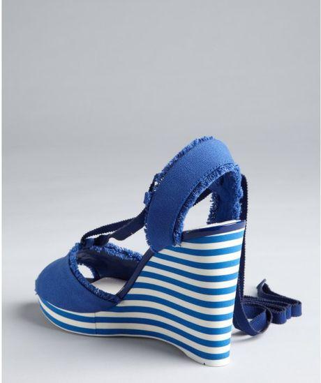 Prada Prada Sport Cobalt Canvas Striped Wedge Sandals In