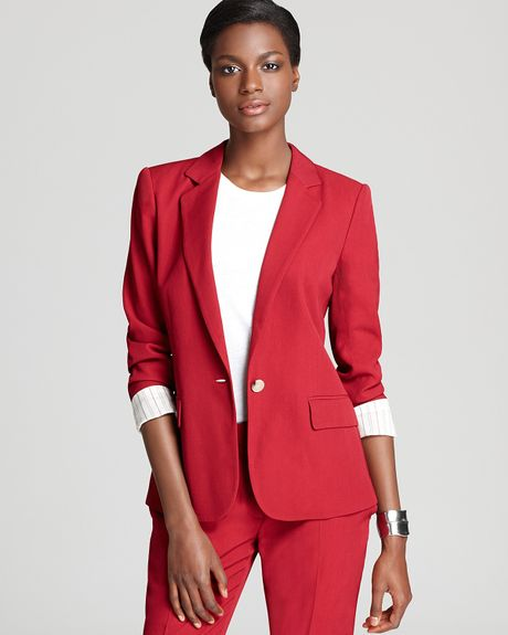 Theory Blazer Gabrielle Tailor Button Front in Red flame