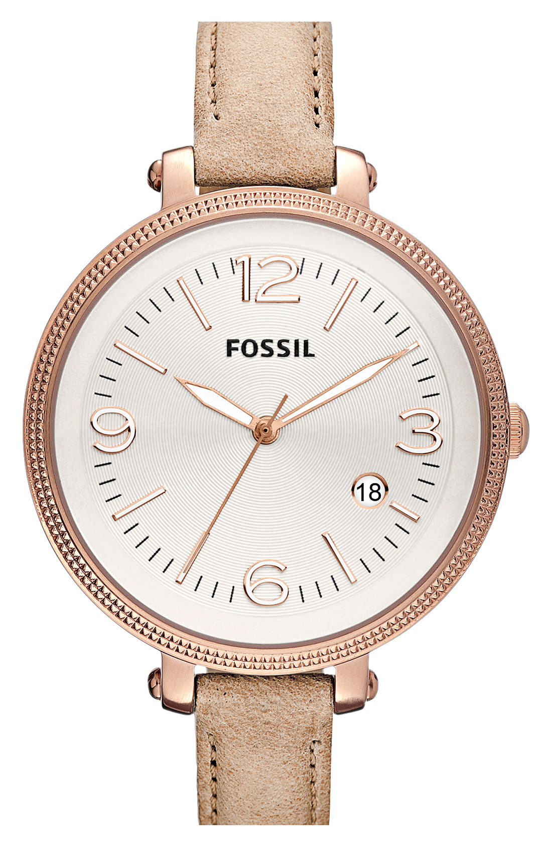 fossil round leather strap watch in silver rosegold sand lyst. Black Bedroom Furniture Sets. Home Design Ideas