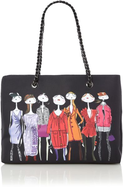 Love Moschino Charming Ladies Tote Bag in Black (multi-coloured