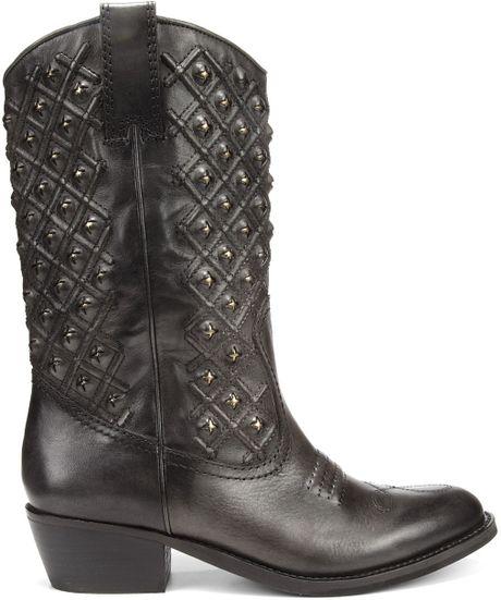 Lucky Brand Madonna Western Boots In Gray Dark Ash Grey