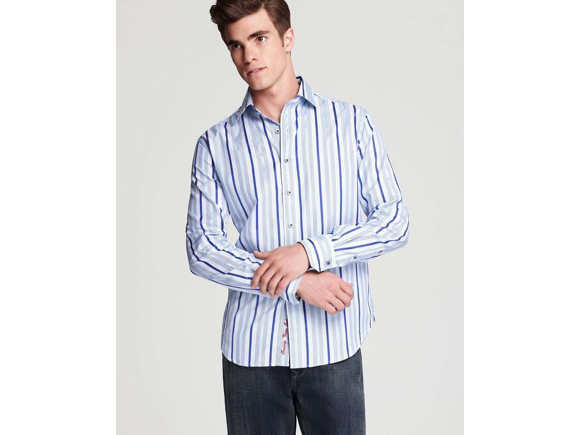 Robert graham buckingham sport shirt classic fit in blue for Robert graham sport shirt