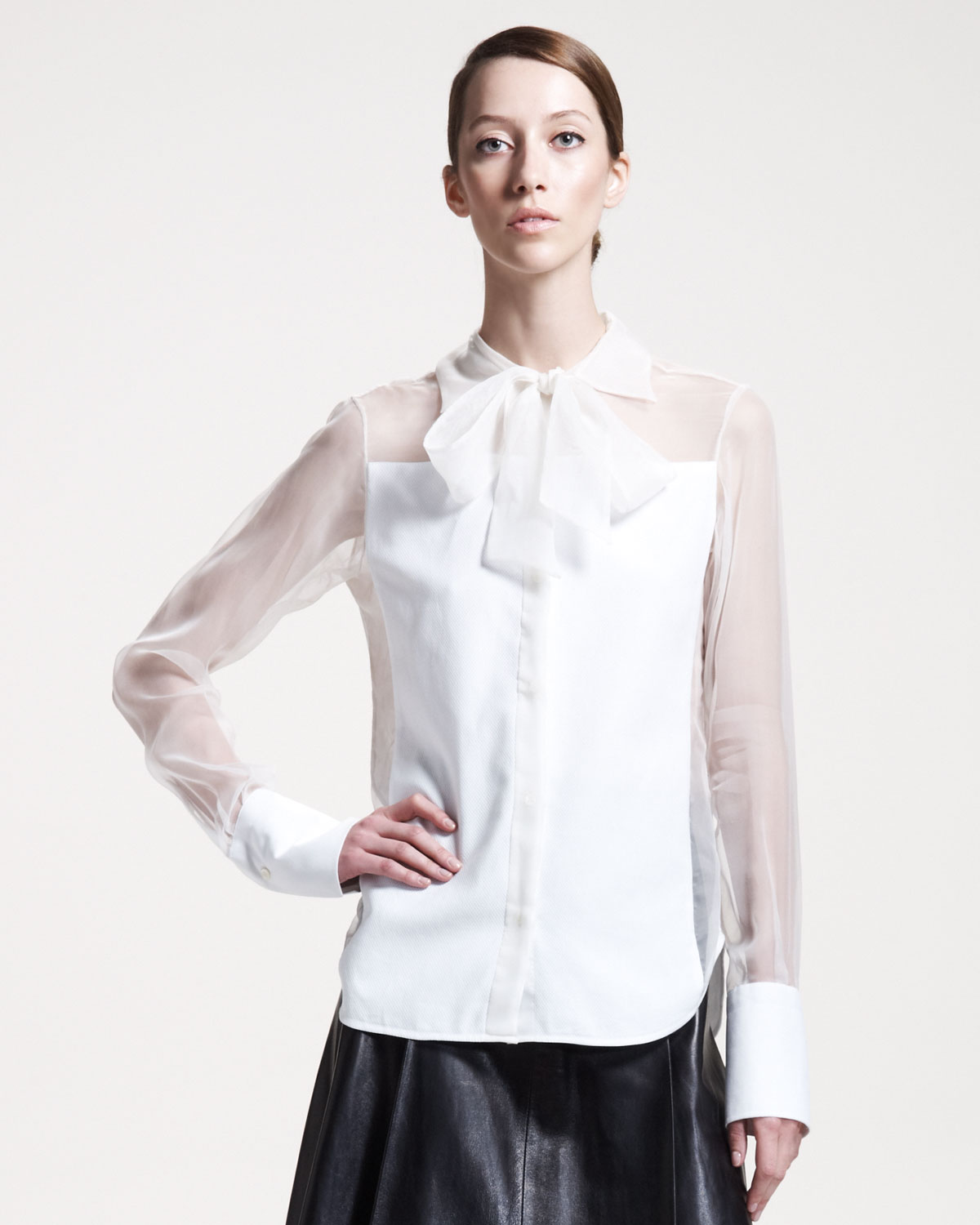 Valentino Silk Panel Blouse In White Lyst