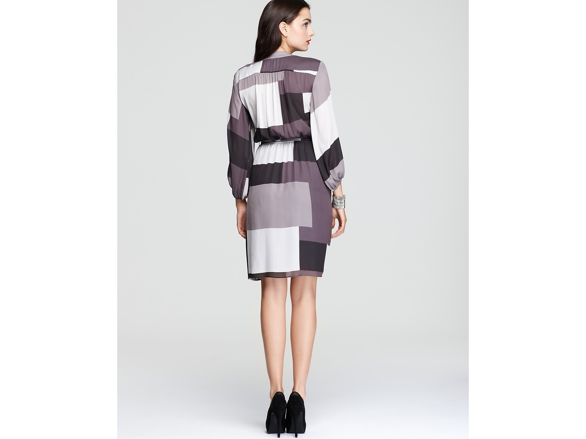 Max &amp cleo Printed Dress Long Sleeve Nikki in Gray  Lyst