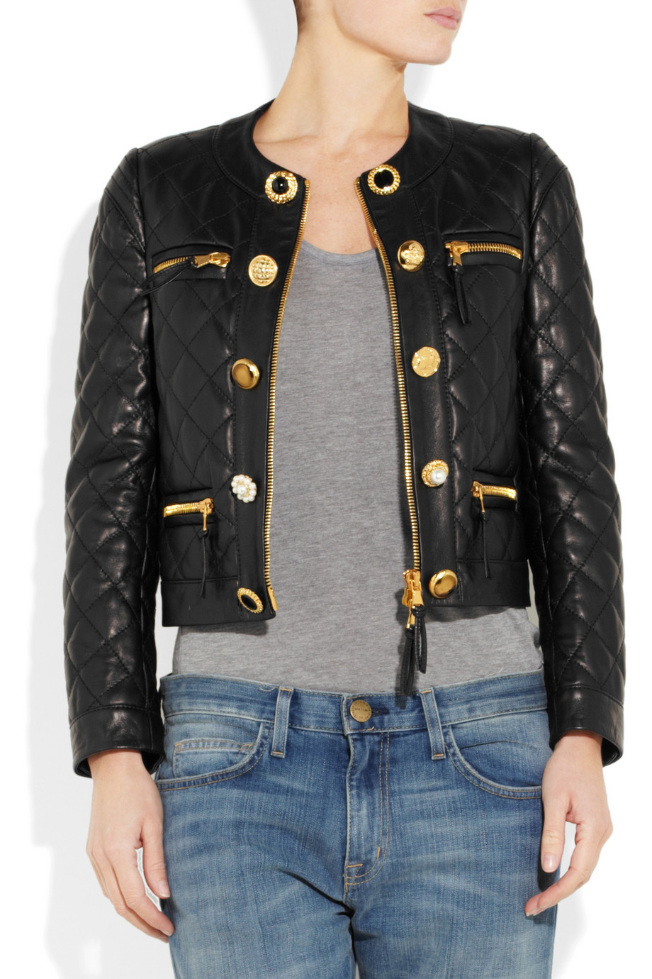 Lyst Moschino Quilted Leather Jacket In Black