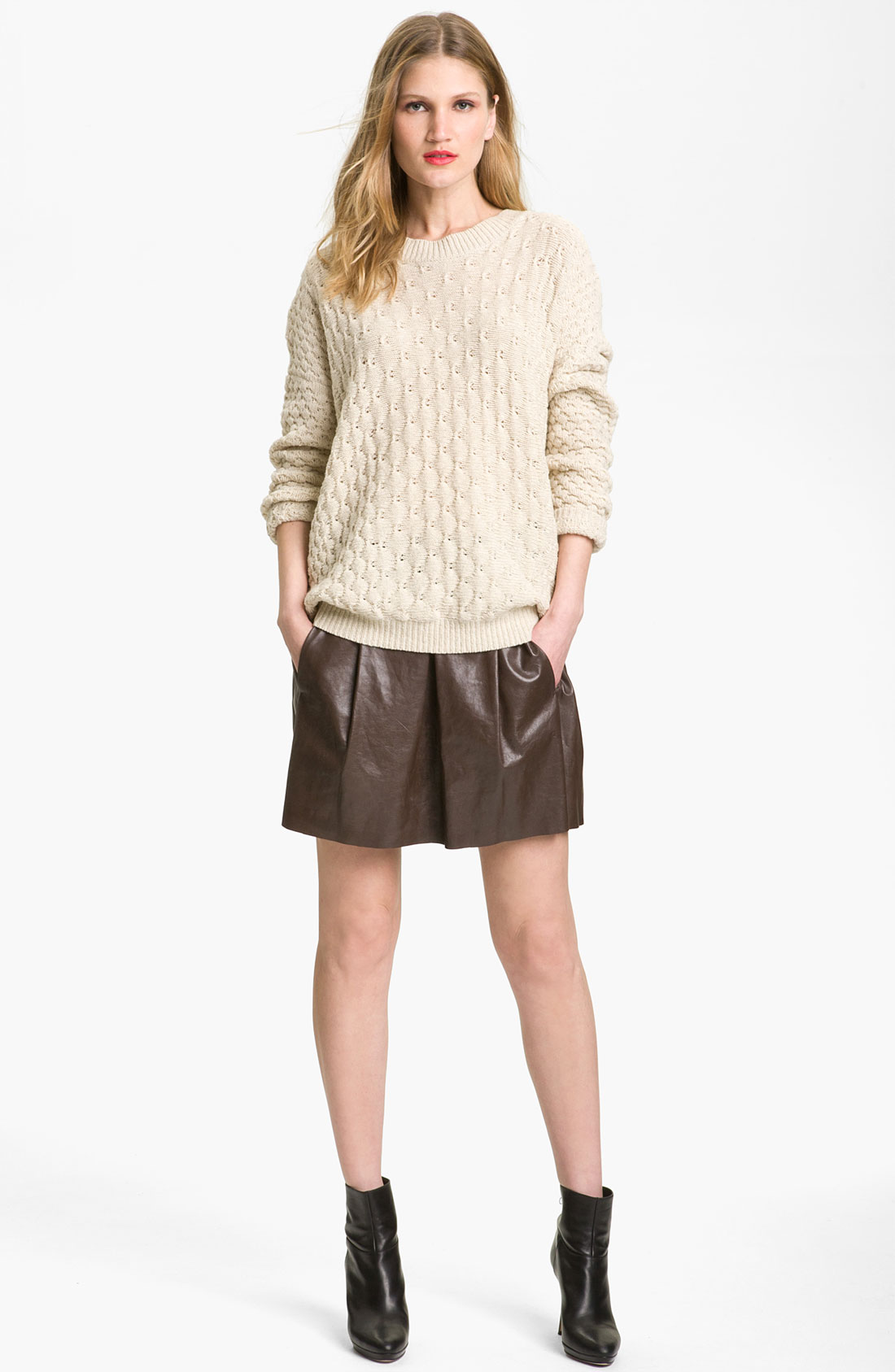 Vince Oversized Chunky Knit Sweater in White (ivory) | Lyst