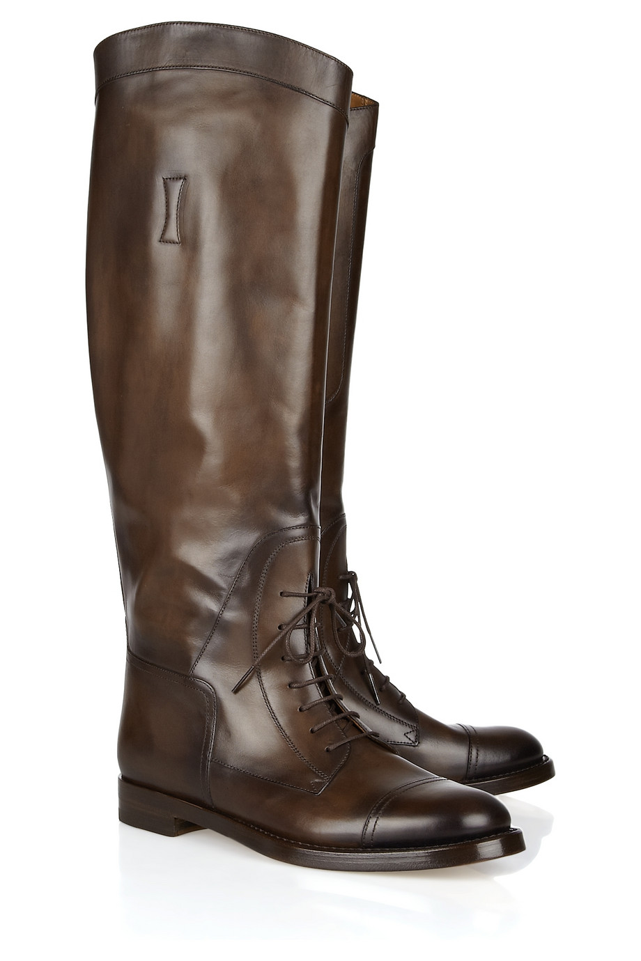 5d91db501 Lyst - Gucci Laceup Leather Riding Boots in Brown