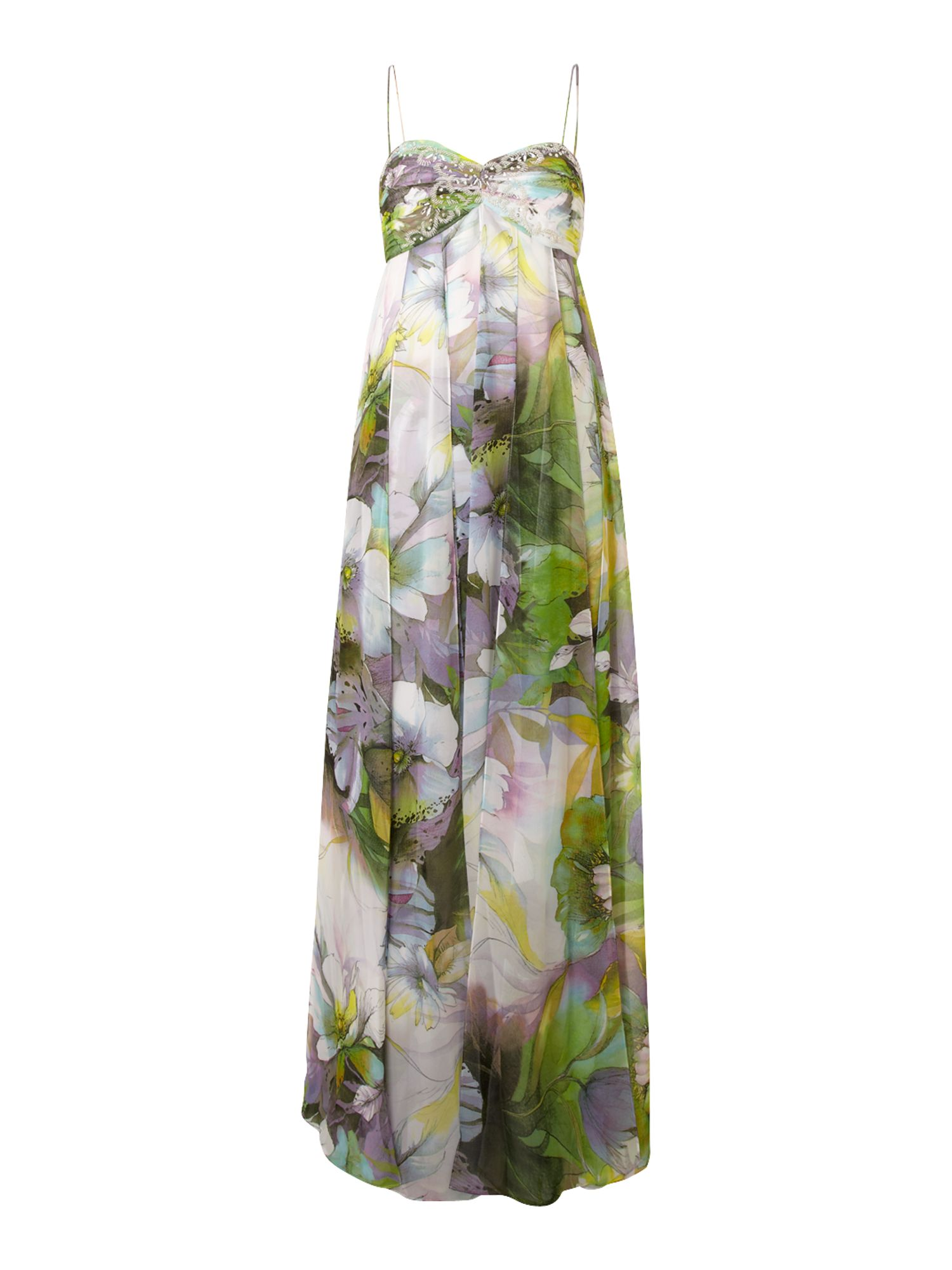 Js Collections Long Floral Print Dress In Multicolor