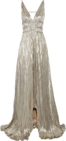 Pleated Lamé Gown