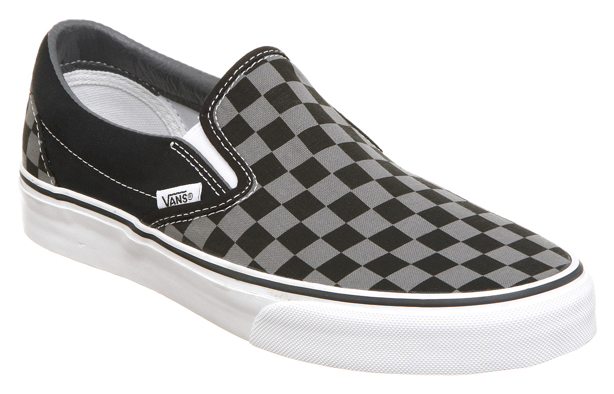 Vans Slip On Black Grey Shoes