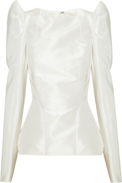 Zac Posen Structured Silktaffeta Top in White