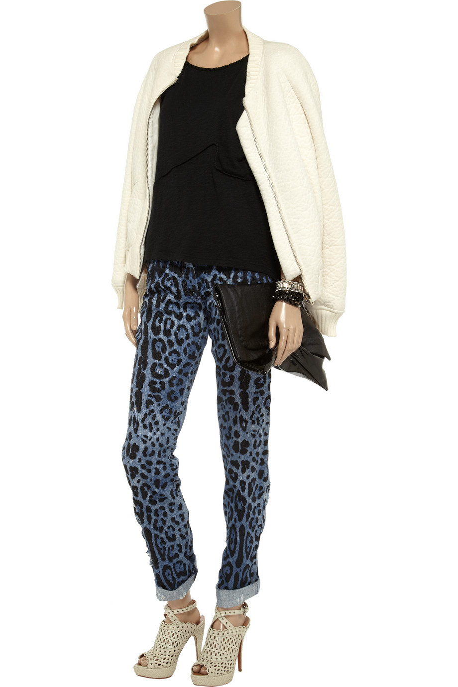 Dolce & Gabbana Printed Low Rise Straight Leg Jeans in Blue