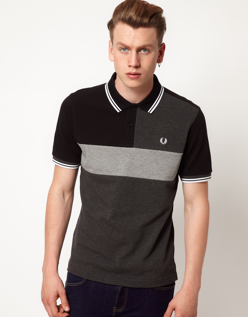 lyst fred perry slim fit cut and sew polo in black for men. Black Bedroom Furniture Sets. Home Design Ideas