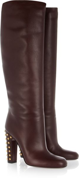 Gucci Studded Leather Knee Boots in Brown (burgundy)