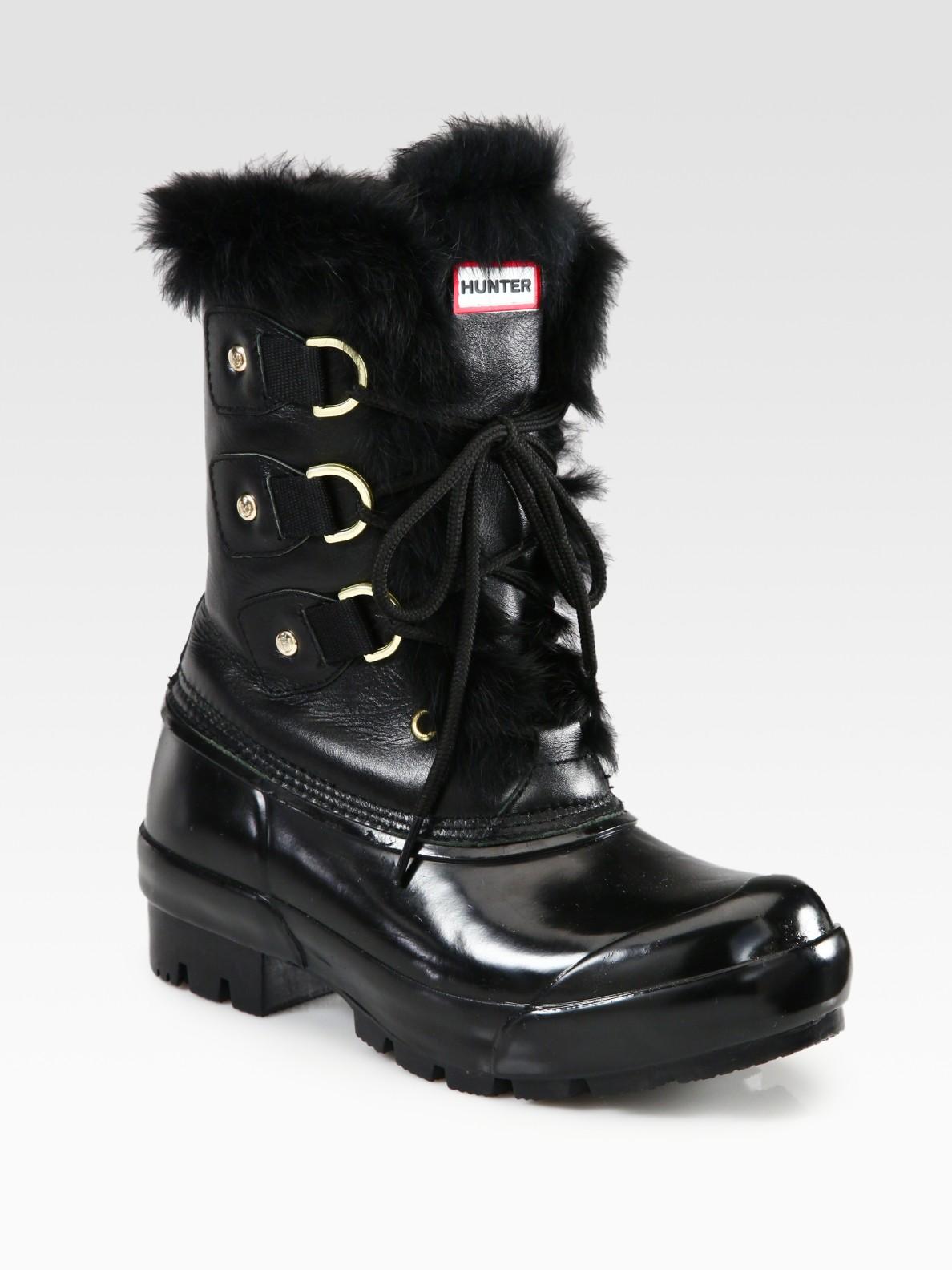 Hunter Cathie Wool Rabbit Fur Boots In Black Lyst
