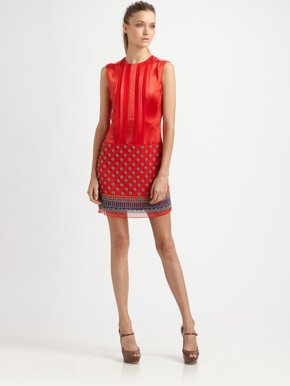 Nanette lepore Sun Sign Beaded Silk Dress in Red | Lyst