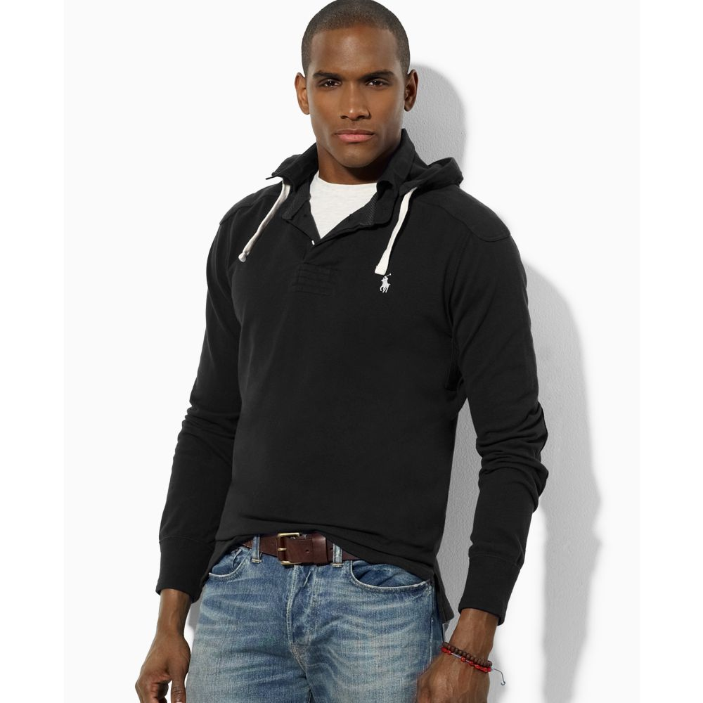 ralph lauren pull over hoodie in black for men polo black. Black Bedroom Furniture Sets. Home Design Ideas