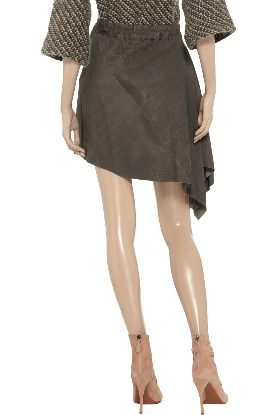 rick owens asymmetric textured leather skirt in gray