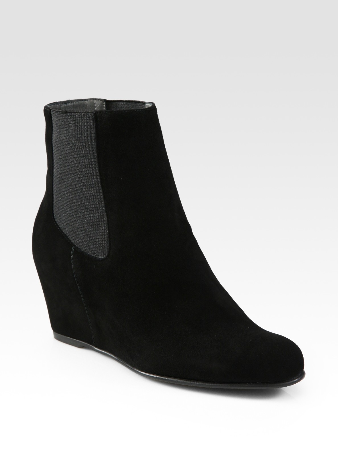 stuart weitzman socks suede wedge ankle boots in black lyst