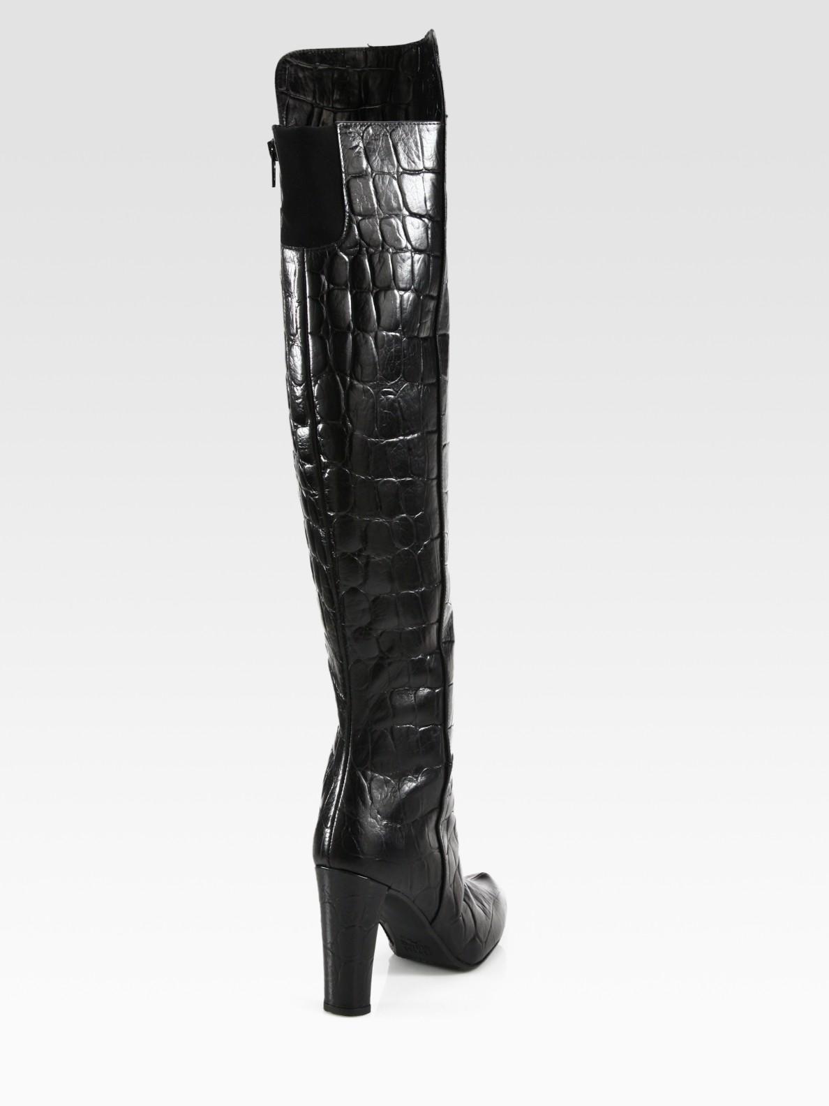 1e5460d3817 Lyst - Stuart Weitzman Vigor Crocodileprint Leather Kneehigh Boots ...